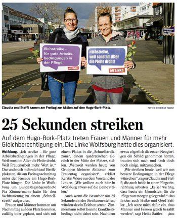 """25 Sekunden streiken – """"Schnellstreik"""" zum Weltfrauentag (Wolfsburger Nachrichten)"""
